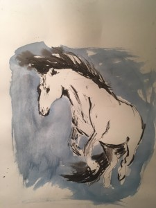 Drowned Horse 2016, watercolor on charcoal 12 x 17