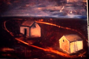 (oil paint on wood) heaven and earth from Landscape Series