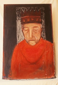 Sleeping King oil on wood 7x3.5 feet