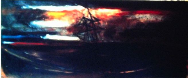 "Ship at Sea from ""storm series"" Oil on Canvass 32 x 48"