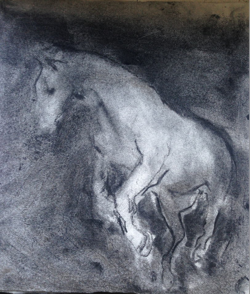 "the drowned horse"" charcoal on paper 6 x 9 inches"