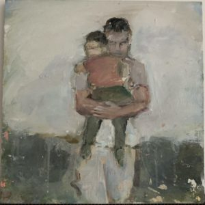 """""""and also with you 12 """" man carrying child; oil on panel, 12 x12, 2021"""